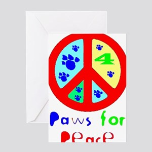 Paws for Peace Red Greeting Cards