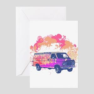 Retro Hippie Van Grunge Style Greeting Card