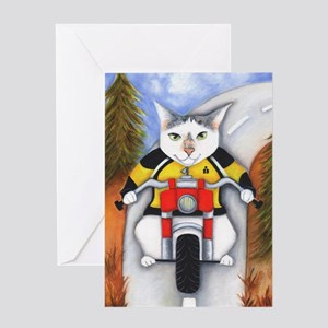 Cardcat On A Motorcycle Greeting Cards