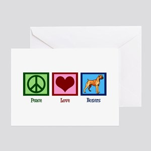 Peace Love Boxer Dog Greeting Card