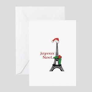 Whimsical Eiffel Tower Paris Joyeux Noel Greeting