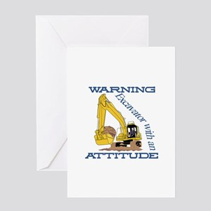 Warning Excavator With An Attitude Greeting Cards