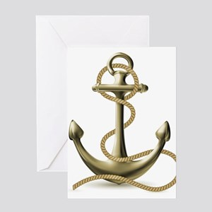 Gold Anchor Greeting Cards