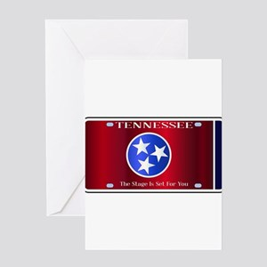 Tennessee State License Plate Flag Greeting Cards