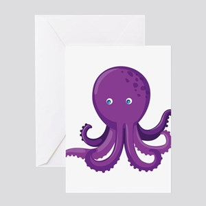 Purple Octopus Greeting Card