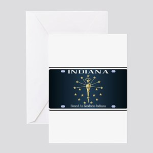 Indiana Flag License Plate Greeting Cards