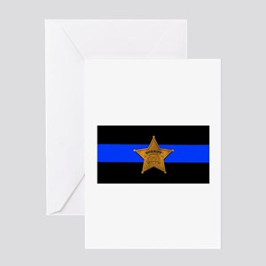 Sheriff Thin Blue Line Greeting Cards