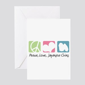 Peace, Love, Japanese Chins Greeting Card