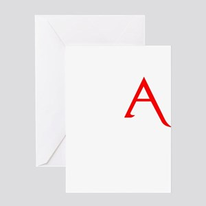 RED A SHIRT SCARLET LETTER EA Greeting Card