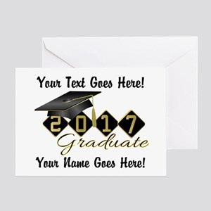 Graduate 2017 Black Gold Greeting Cards