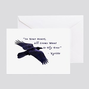 All Crows Want to Fly Free Greeting Cards
