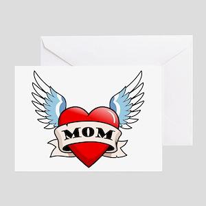 Mom Tattoo Winged Heart Greeting Card