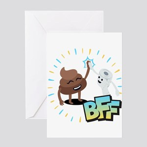 Emoji Poop Toilet Paper BFF Greeting Card