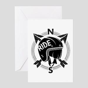 Retro Motorbike Helmet Greeting Cards