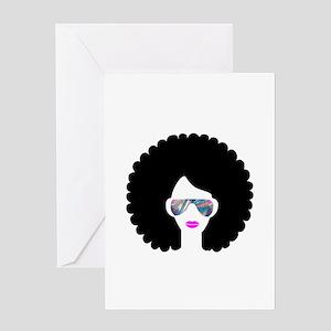 hologram afro girl Greeting Cards