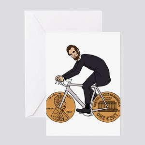 Abraham Lincoln On A Bike With Penn Greeting Cards