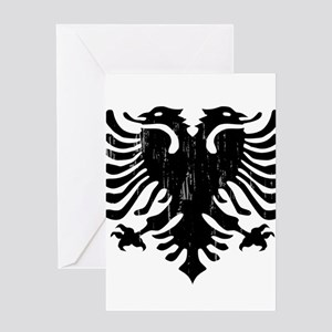 albania_eagle_distressed Greeting Cards