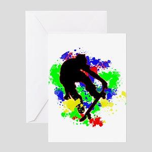 Graffiti Paint Splotches Skateboard Greeting Cards