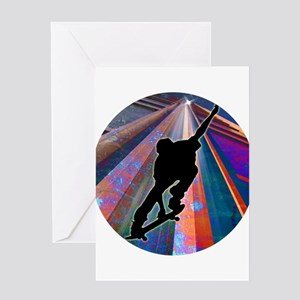 Skateboard on a Building Ray Greeting Cards