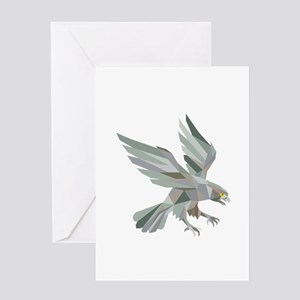Peregrine Falcon Swooping Grey Low Polygon Greetin