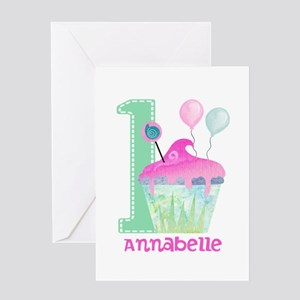 Baby Girl 1st Birthday Greeting Cards