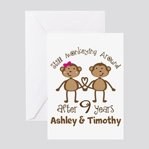 Funny 9th Anniversary Personalized Greeting Cards