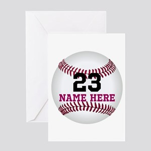 Baseball Player Name Number Greeting Card
