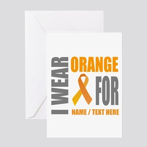 Orange Awareness Ribbon Customized Greeting Card