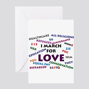 I March for Love Greeting Cards