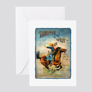 Vintage Cowgirl Roping Greeting Card
