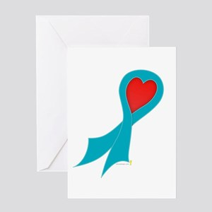 Teal Ribbon with Heart Greeting Card