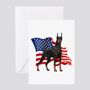 American Flag Doberman Greeting Card