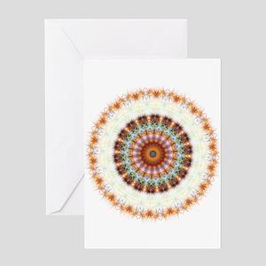 Detailed Orange Earth Mandala Greeting Card