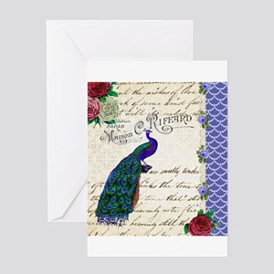 Vintage peacock collage Greeting Card