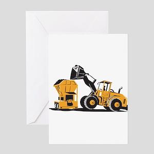 Front End Loader Digger Excavator Retro Greeting C