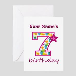 7th Birthday Splat - Personalized Greeting Card