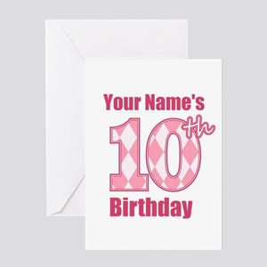 Pink Argyle 10th Birthday - Personalized! Greeting
