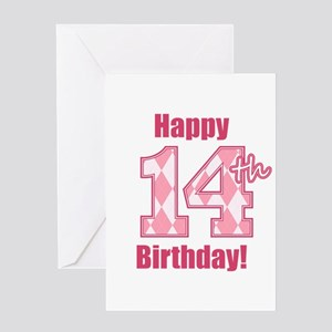 Happy 14th Birthday - Pink Argyle Greeting Card