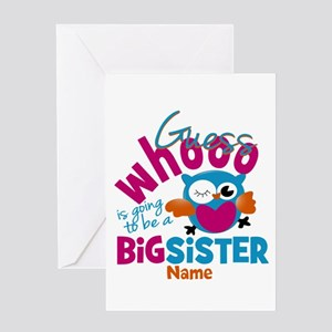Personalized Big Sister - Owl Greeting Card