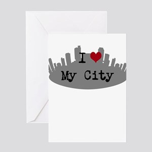 Customizable I Heart City Greeting Cards