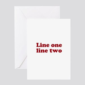Two Line Custom Message in Dark Red Greeting Cards