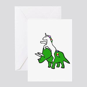 Unicorn Riding Triceratops Greeting Cards
