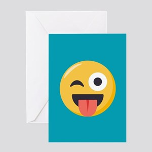 Winky Tongue Emoji Greeting Card