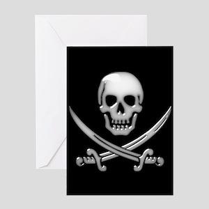 Glassy Skull and Cross Swords Greeting Cards