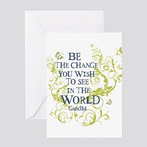 2-gandhi_vine_change_bluegreen Greeting Cards