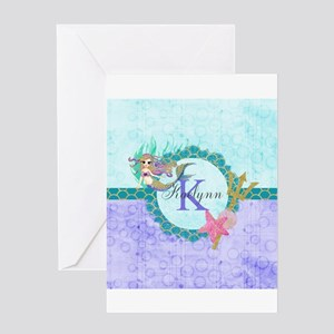 Personalized Monogram Mermaid Greeting Cards