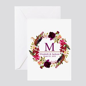 Boho Wreath Wedding Monogram Greeting Cards