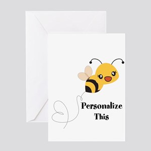 Personalized Cute Bumble Bee Greeting Cards