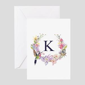 Hummingbird Floral Wreath Monogram Greeting Cards