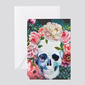 Flowers and Skull Greeting Card